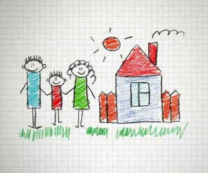 Childs drawing of a family
